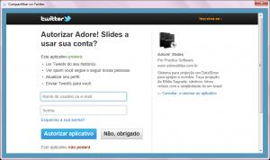 Adore Slides - Twitter Login