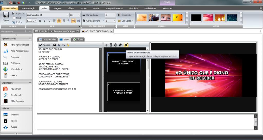 Ferramenta Pincel Adore! Slides Sistema Projeção Data Show Igreja